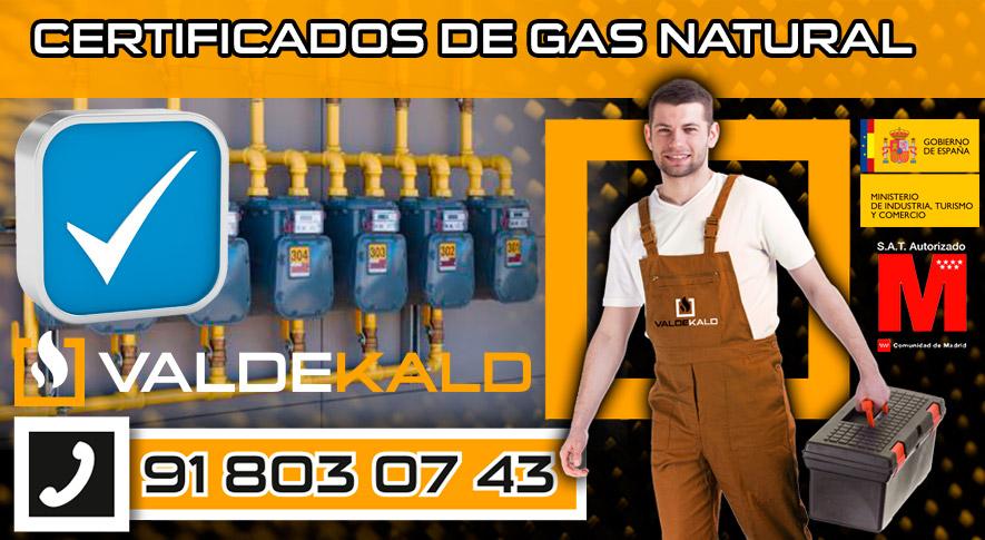 certificados de gas natural en Valdemoro